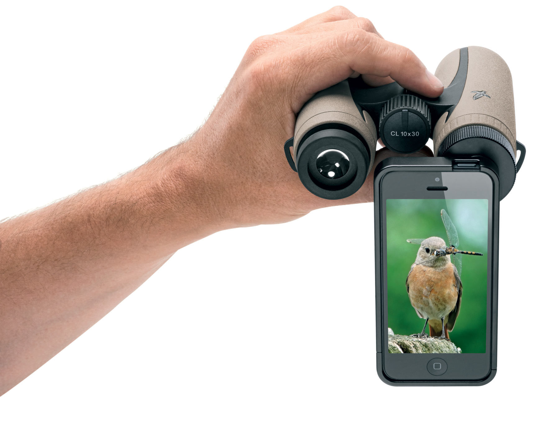 The Swarovski PA-i5 adapter lets you use your iPhone to take photos through your binoculars.