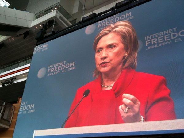 Hillary Clinton speaking on Internet freedom