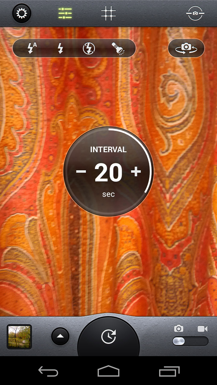 Want to set your phone to take a shot every few seconds? Camera Awesome has an intervalometer.