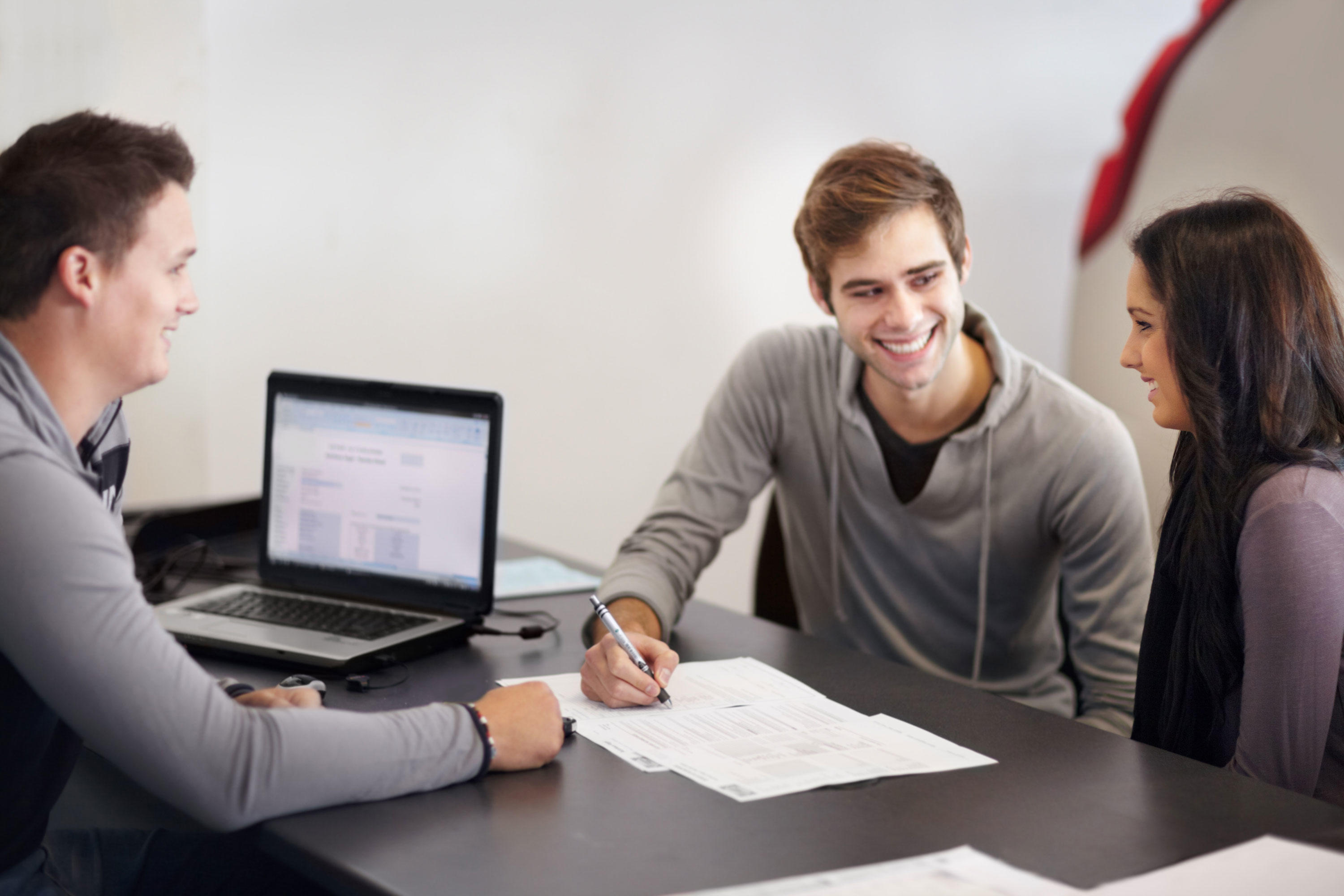 Signing for a car loan