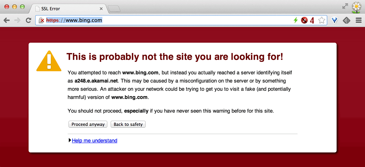 Trying to reach Bing.com over a secure HTTPS connection produced this warning.