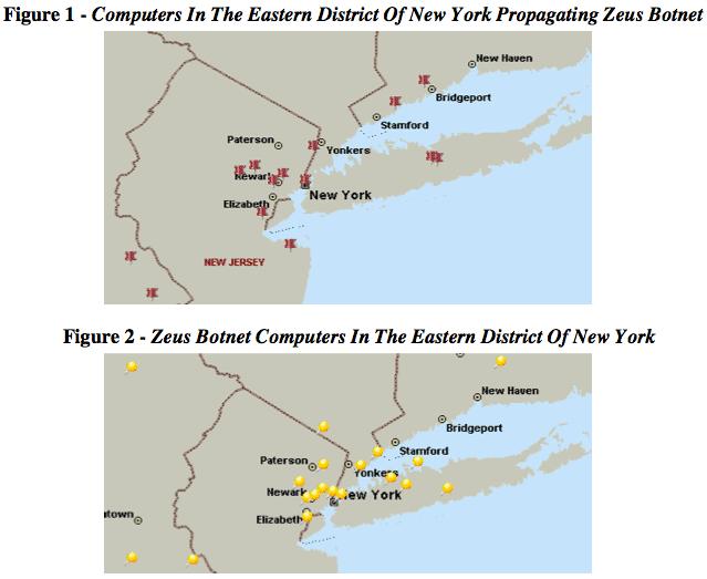Microsoft's lawsuit shows the locations of Zeus botnets in the Eastern District of New York, where Microsoft and its allies filed their lawsuit.
