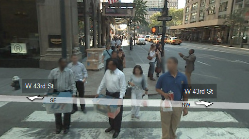 Google Street View now blurs some faces in Manhattan.