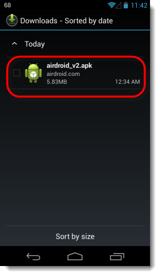 Install AirDroid APK from downloads