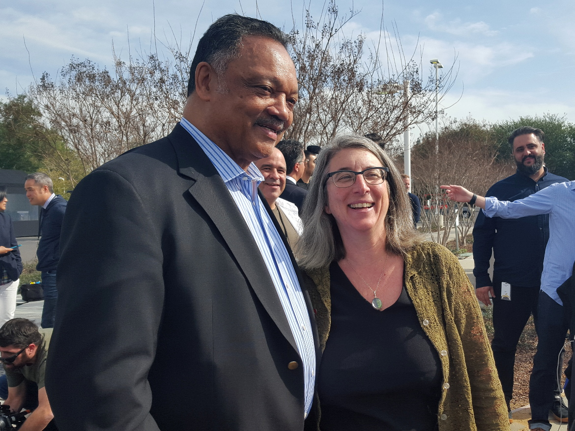 The Rev. Jesse Jackson and Cindy Cohn, executive director of digital-rights group the Electronic Frontier Foundation, voice their support for Apple's privacy stance.