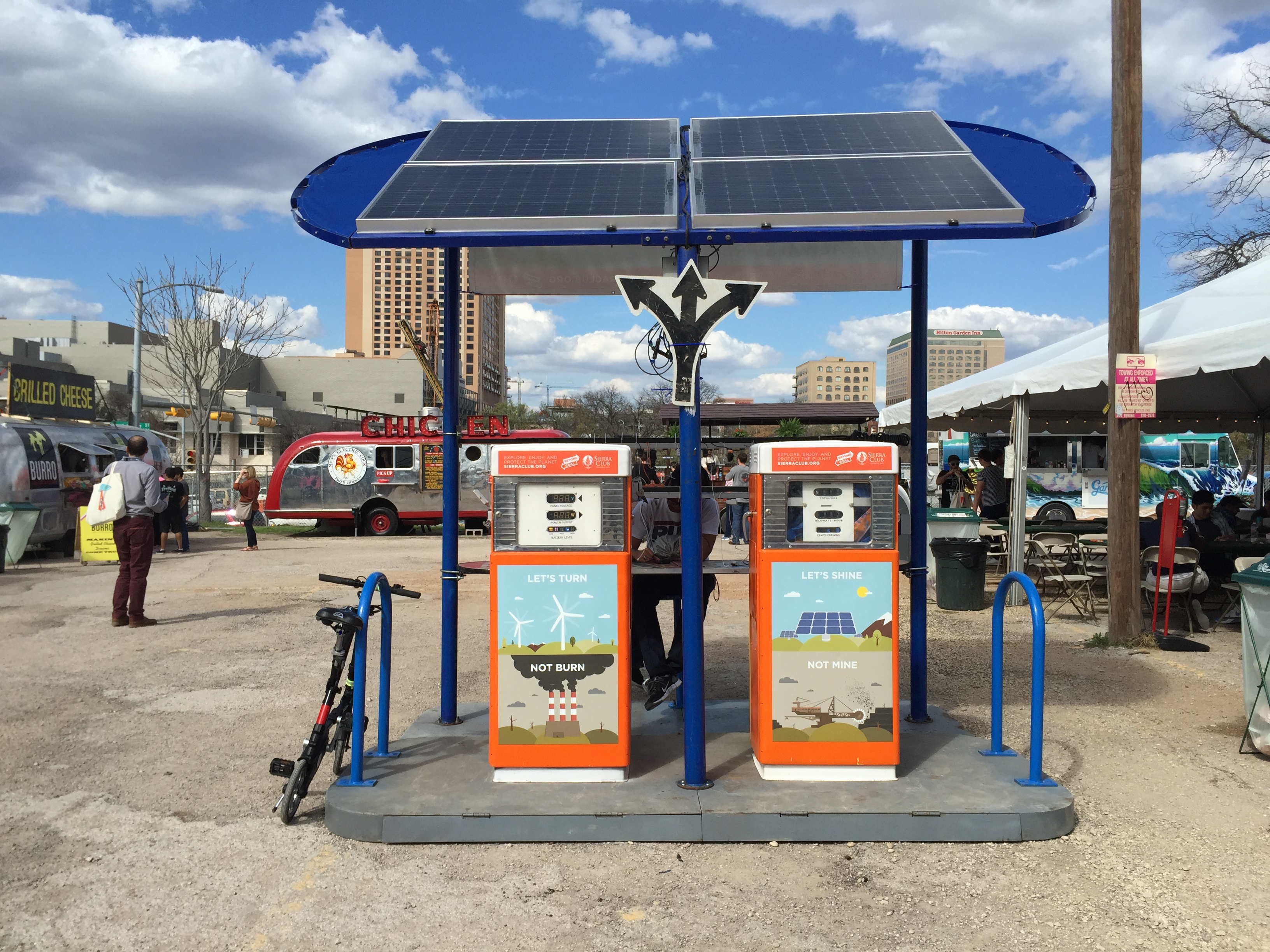 <p>Festival goers flocked to this solar-powered charging station at the Southbites food truck emporium, which was made to look like gas pumps.</p>