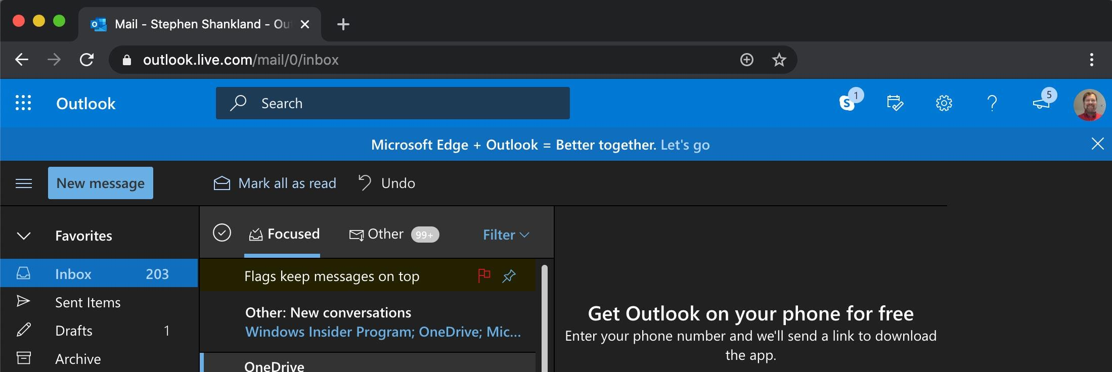 Microsoft Edge promo on Outlook.com