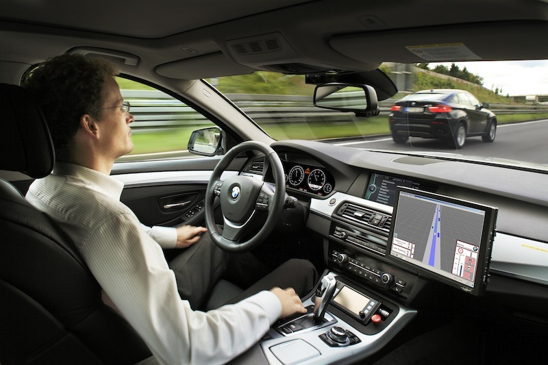 Testing out the autonomous BMW 5-series on the A9 motorway from Munich to Nuremberg.