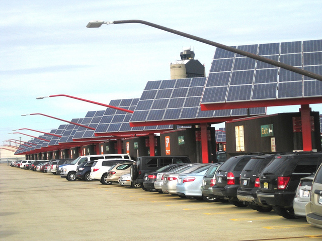 Evergreen Solar panels installed at Boston's Logan Airport.