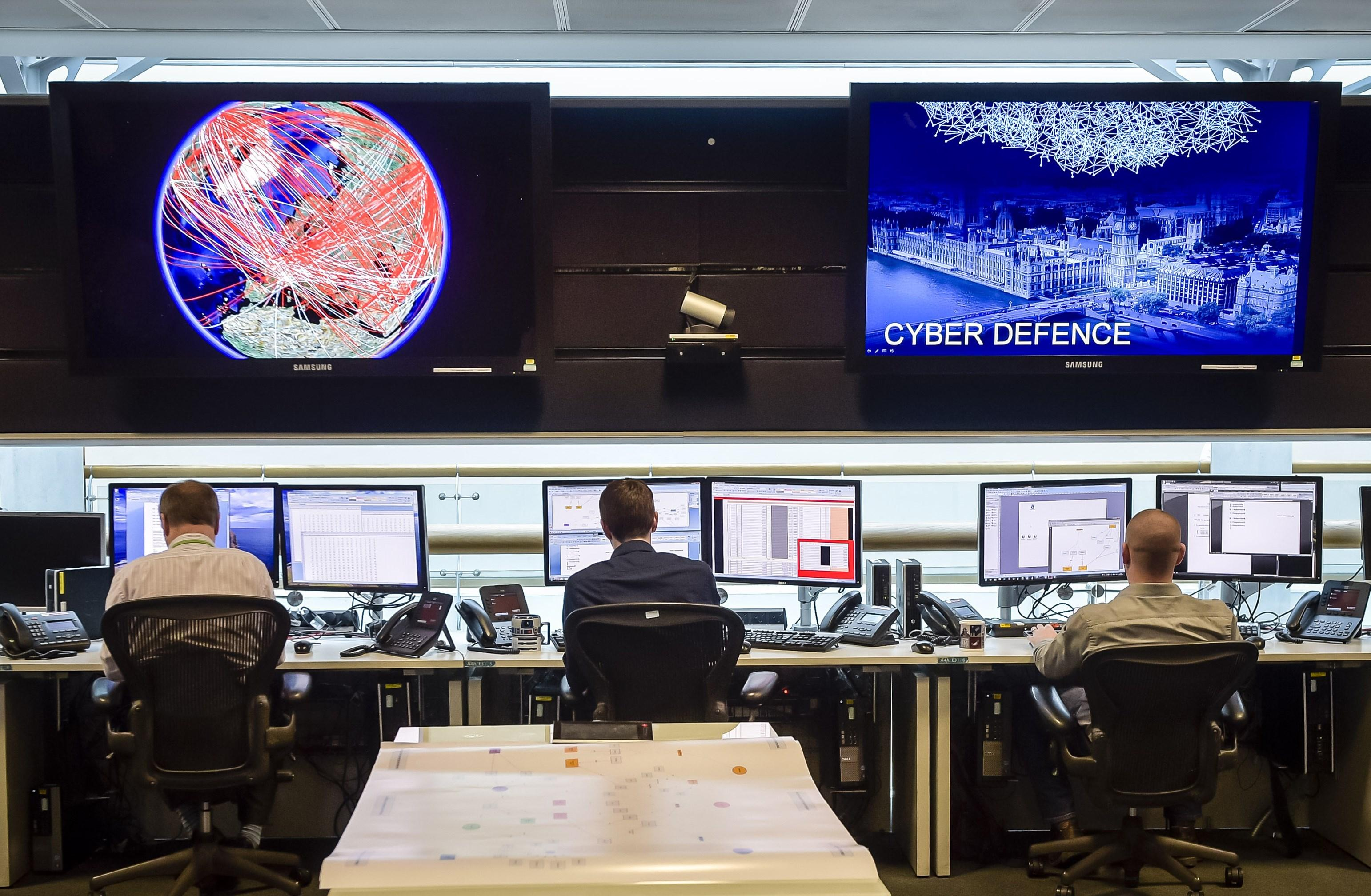 General view of the 24-hour operations room at GCHQ in Cheltenham, England.