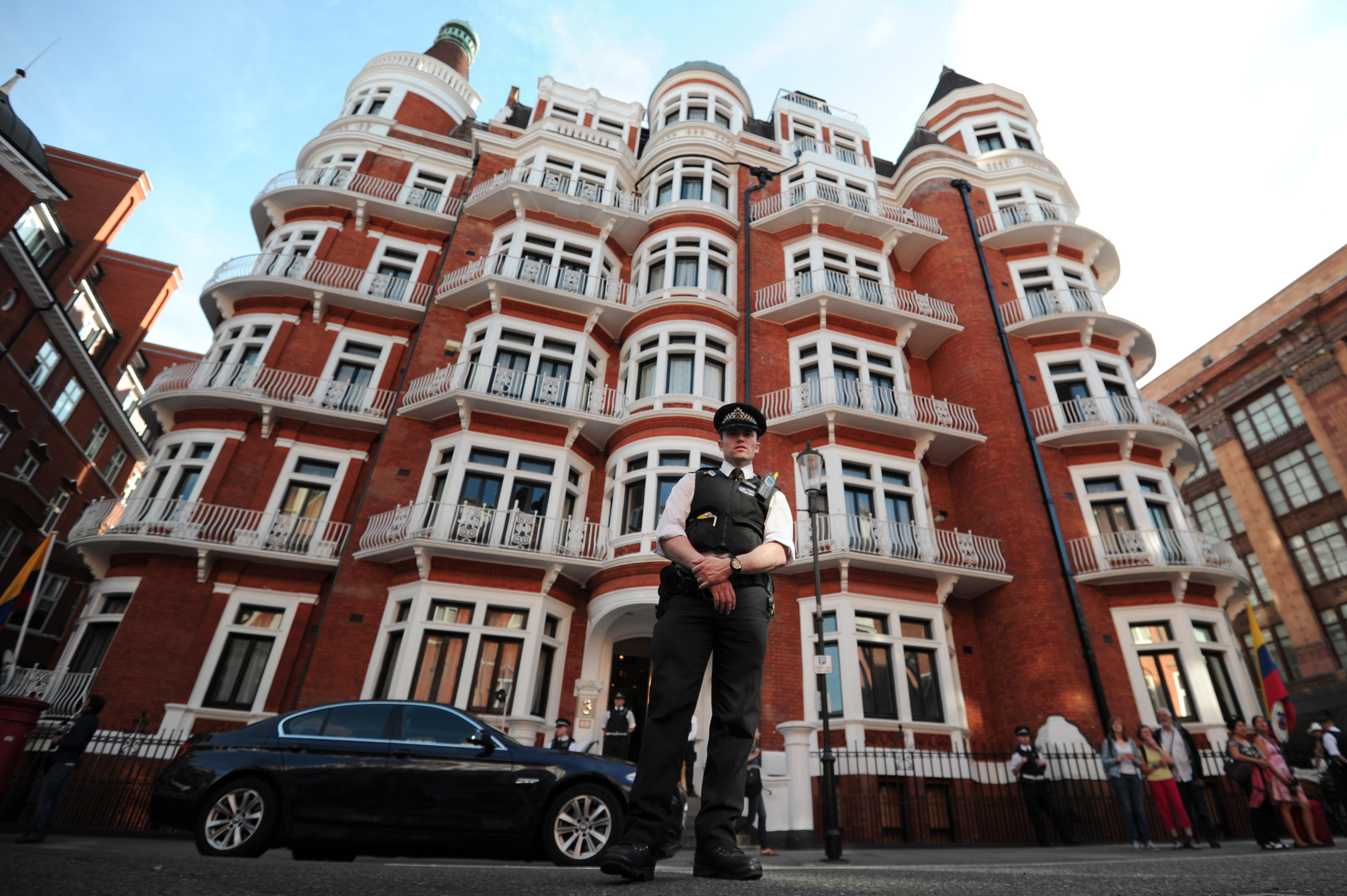 A police officer stands outside the Ecuadorian Embassy in London.