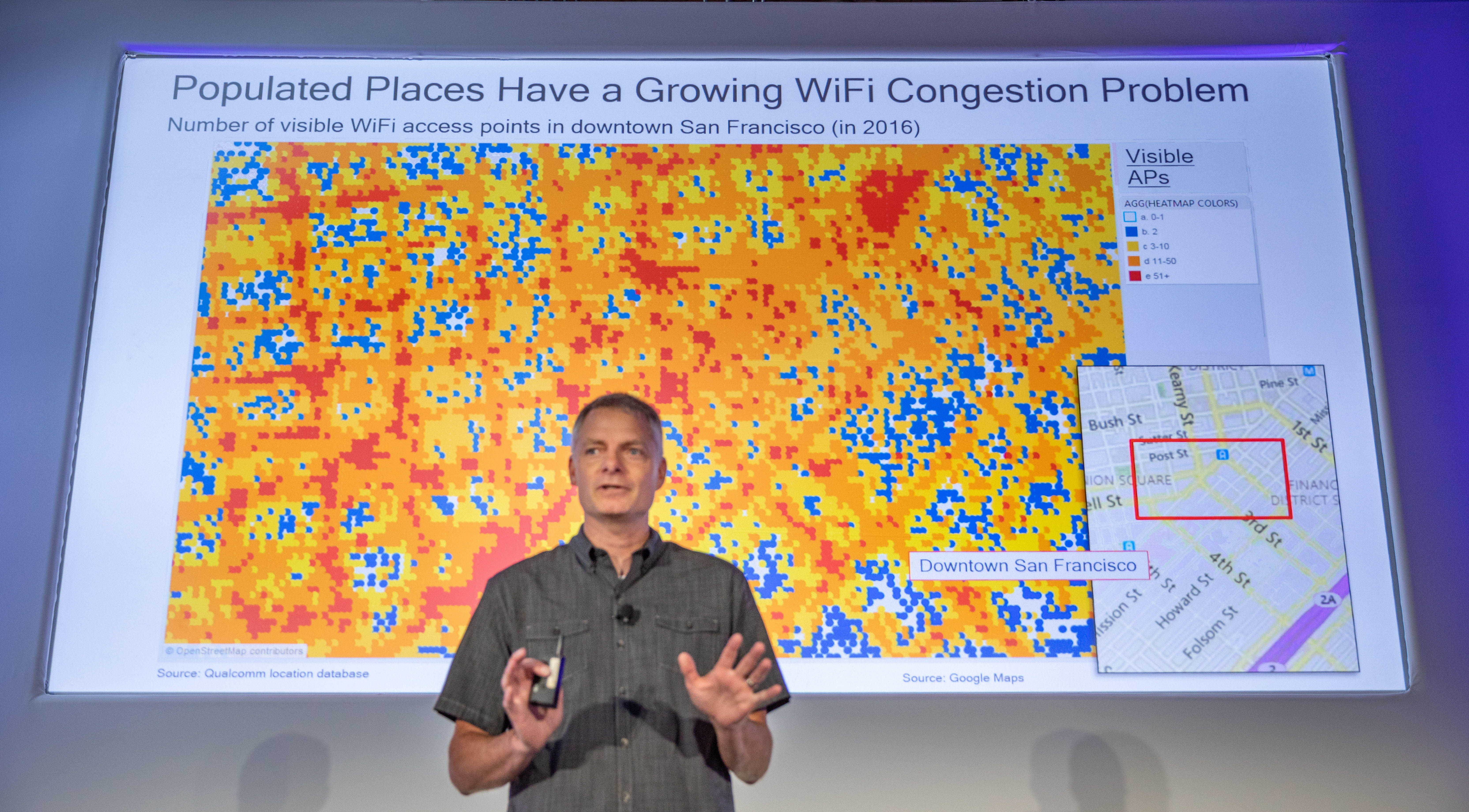 VK Jones, vice president of technology at wireless technology power Qualcomm, shows how congested Wi-Fi networks already are in San Francisco.
