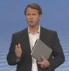 HP VP Keith LeFebvre holds a new HP 2530p ultraportable.  The laptop comes with an Intel 80GB SSD.  Larger 160GB drives from Intel are expected in the fourth quarter.
