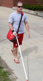 A volunteer tests the Smart Cane.