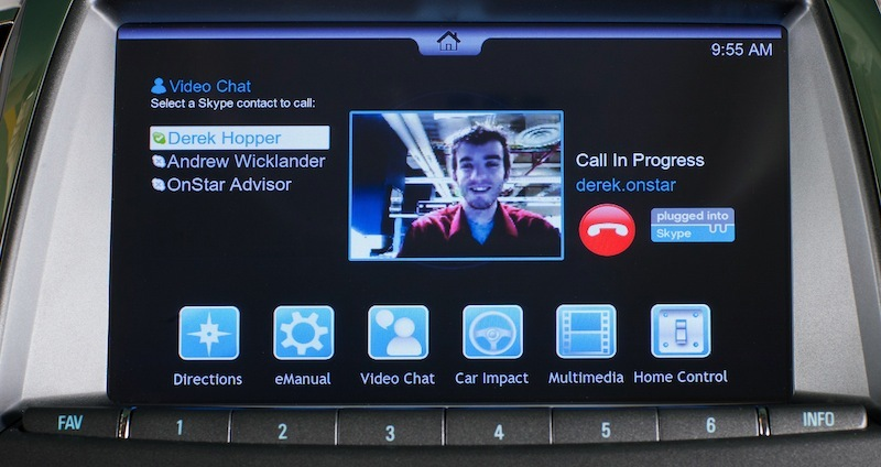 Demonstration of video chat using OnStar in a prototype vehicle equipped with Verizon 4G connectivity.