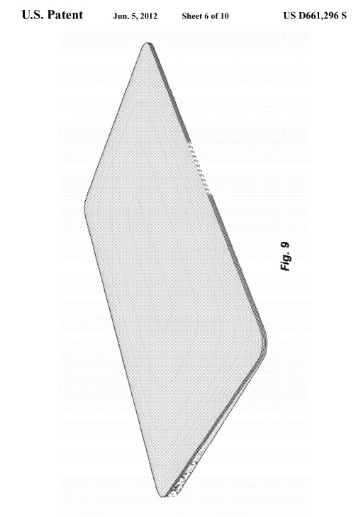 Apple's wedge aesthetic: patent No. D661,296 S.