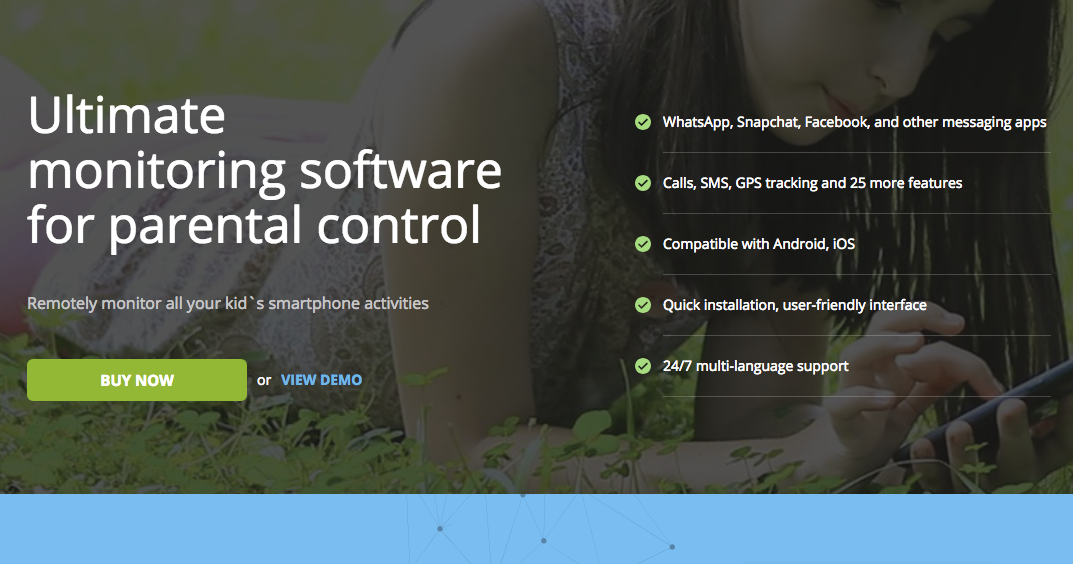 """MSpy's website, which has a photo of a girl lying on some grass and looking at her mobile phone in the background. Superimposed is the text, """"Ultimate monitoring software for parental control,"""" as well as a button that says """"BUY NOW."""""""