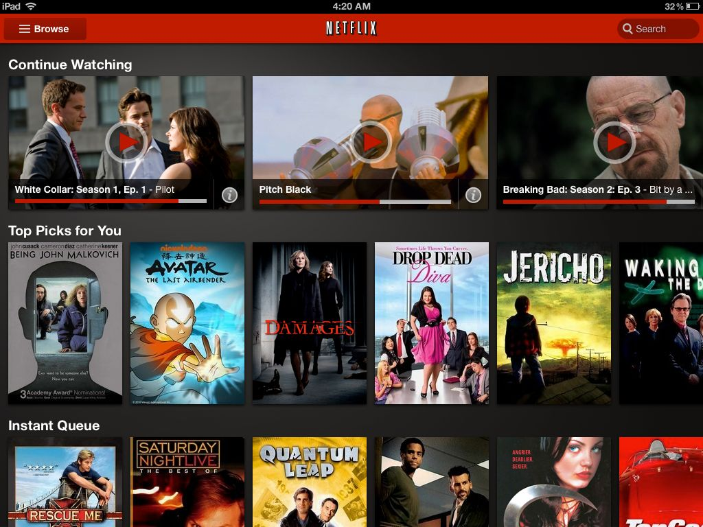 The vastly improved Netflix 2.0 for iPad.