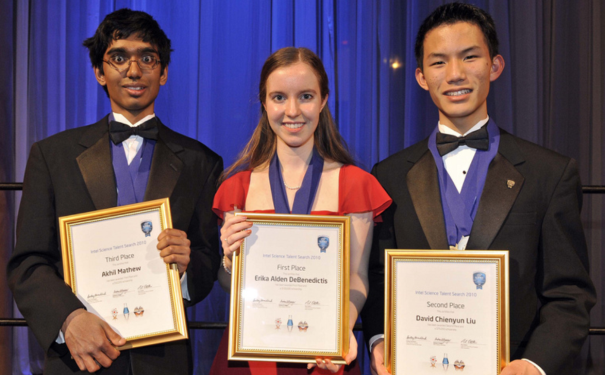 The top three winners of the 2010 Intel Science Talent Search with top award winner Erika DeBenedictis in the middle, David Liu in second place on the right, and Akhil Mathew in third place on the left.