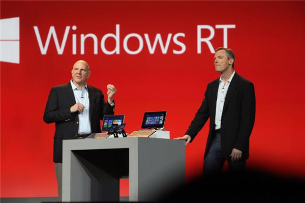 Qualcomm CEO Paul Jacobs is joined on stage at CES 2013 by Microsoft CEO Steve Ballmer.