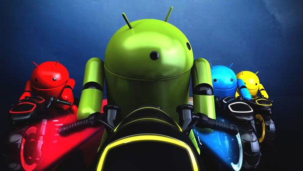 Google promotes Android with robots riding Tron-style lightcycles.