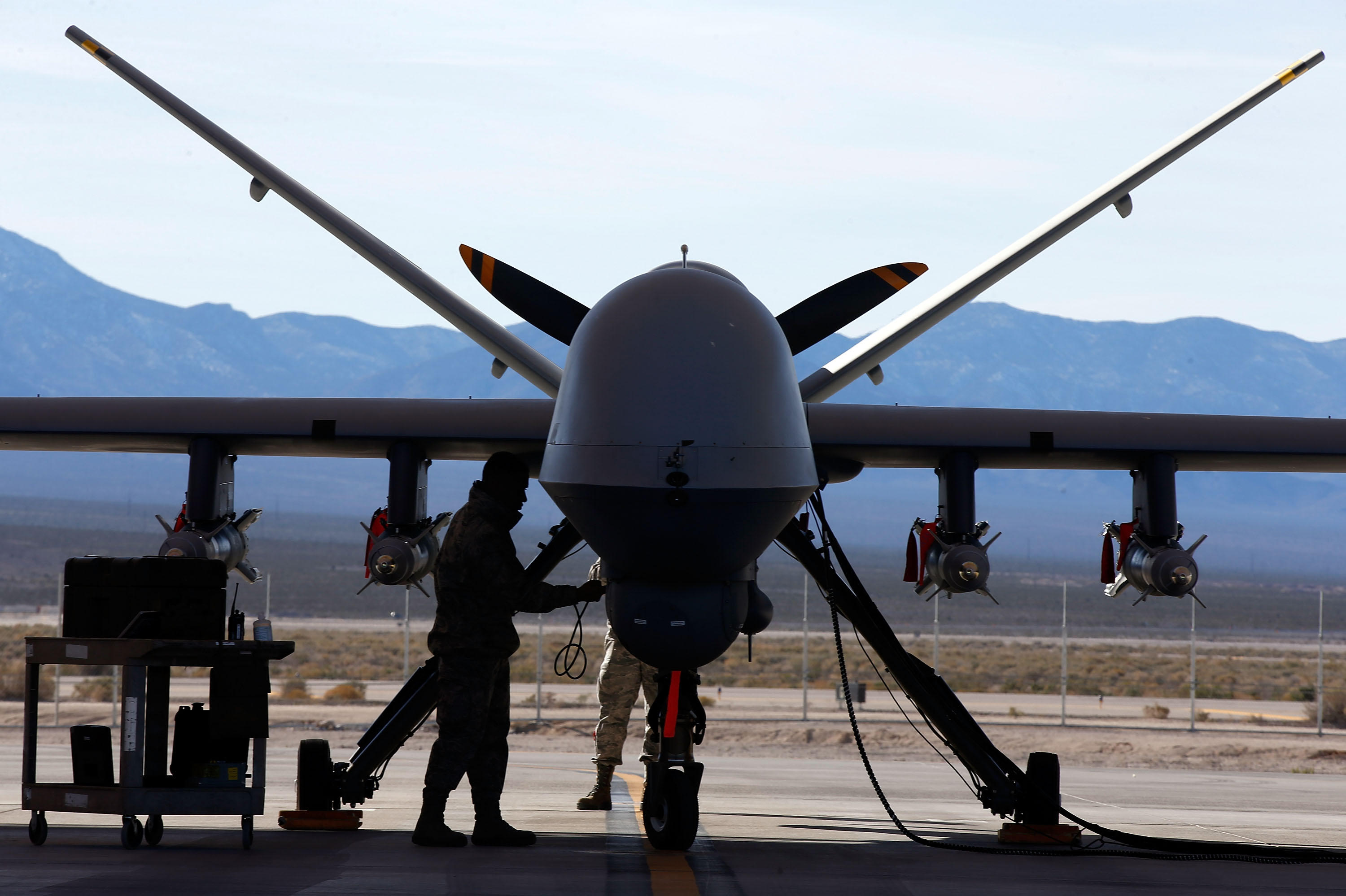 An MQ-9 Reaper remotely piloted aircraft (RPA) gets  prepared for a training mission at Creech Air Force Base, Nevada.
