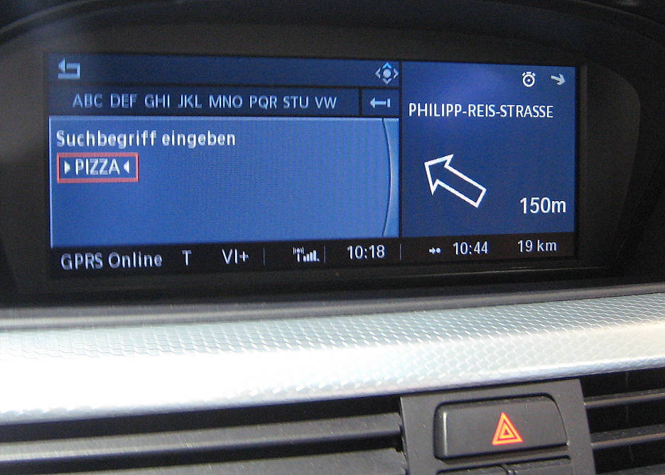 You can enter any search term, such as pizza, in BMW's navigation system.