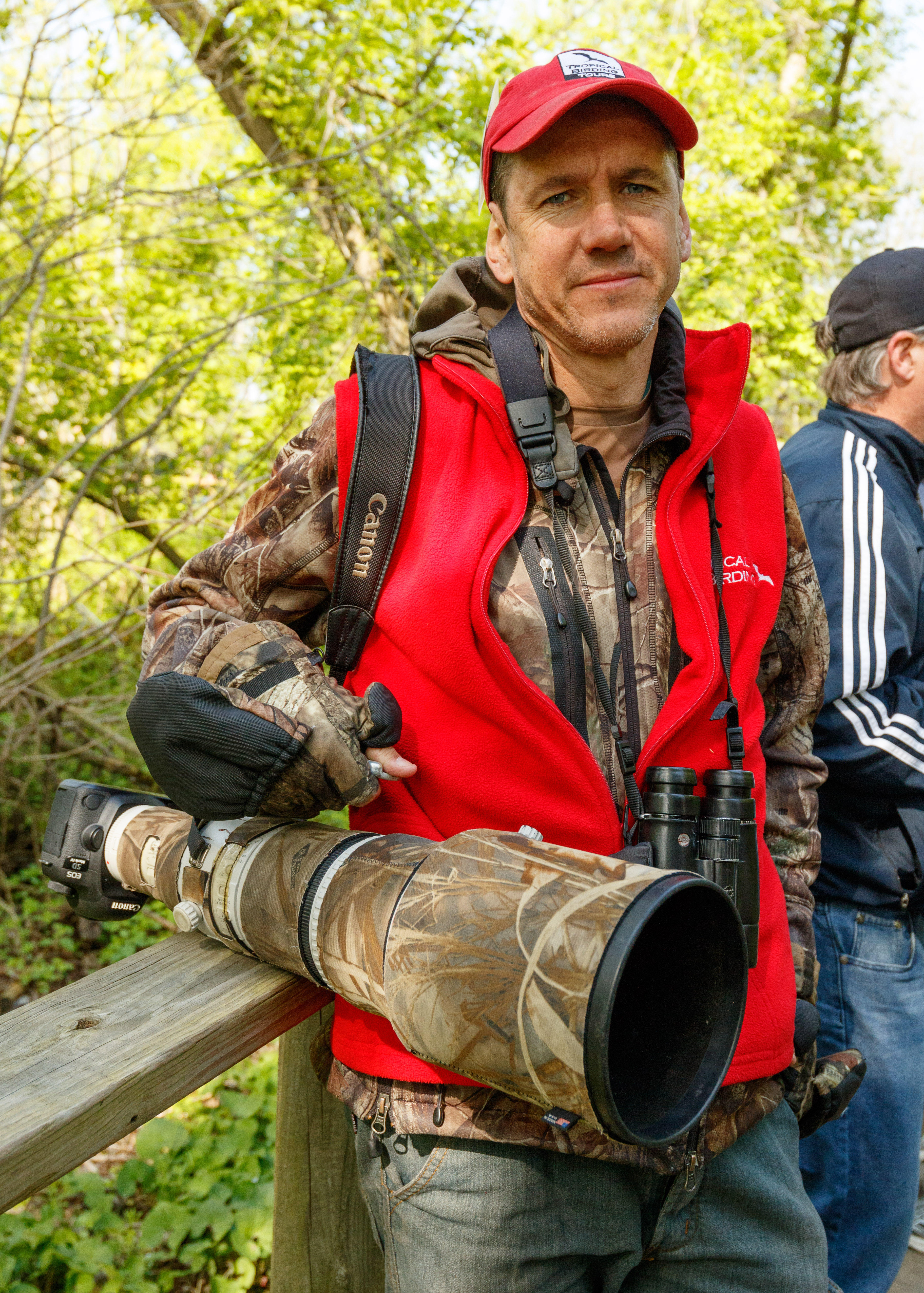 Keith Barnes, a South African living in Taiwan, carries a massive 500mm Canon supertelephoto lens and Leica Ultravid binoculars. The birding expert works for Tropical Birding, which runs 120 bird tours a year for avian enthusiasts.