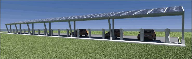 A rendering of the 30-car solar charging station being built at Nissan's Smyrna plants.