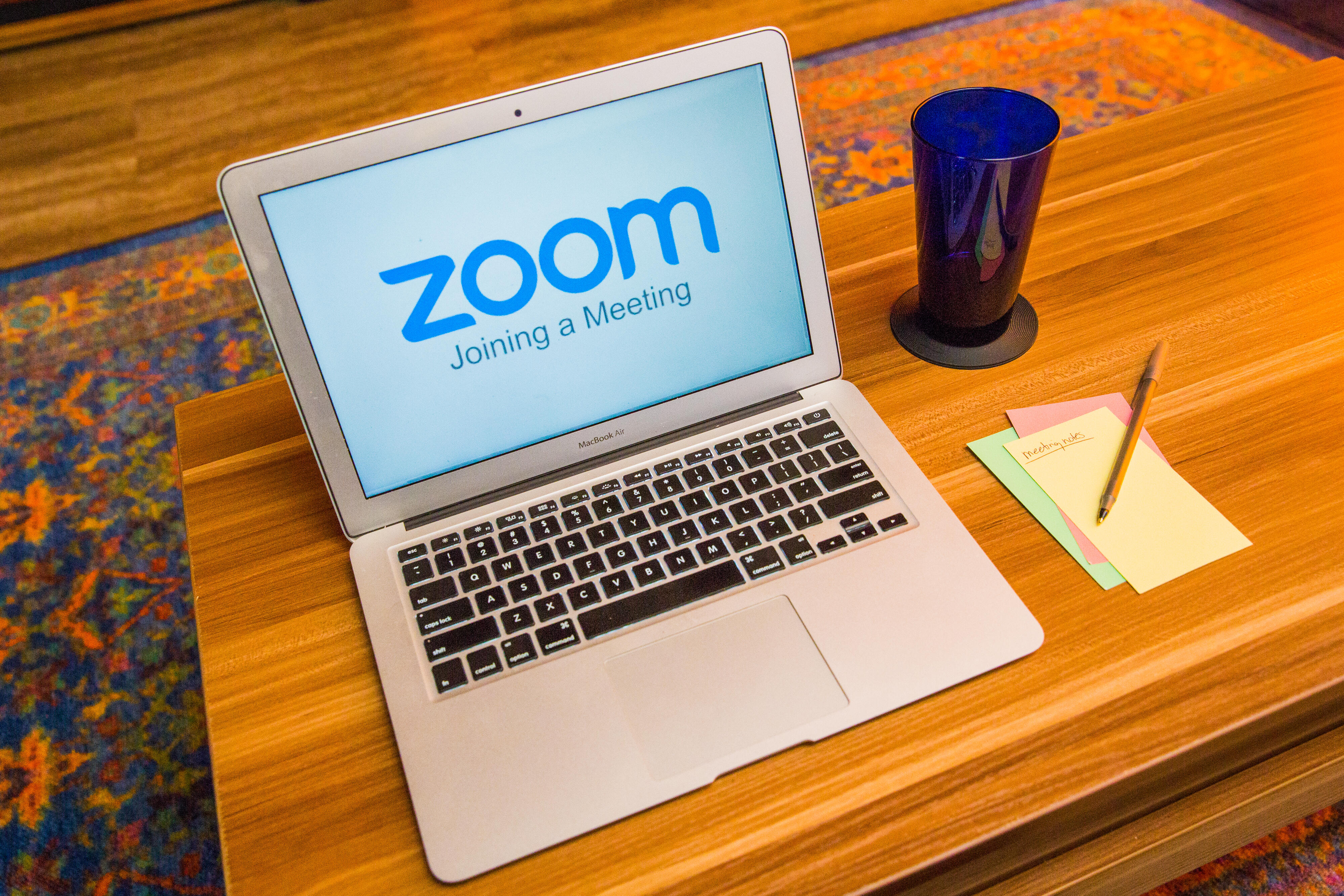 Zoom logo on a laptop screen