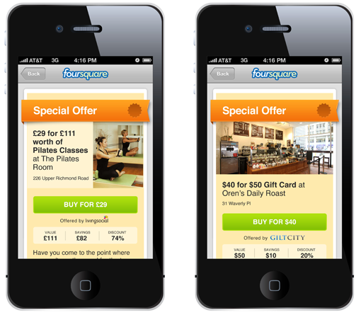 Foursquare's new daily-deals offer.
