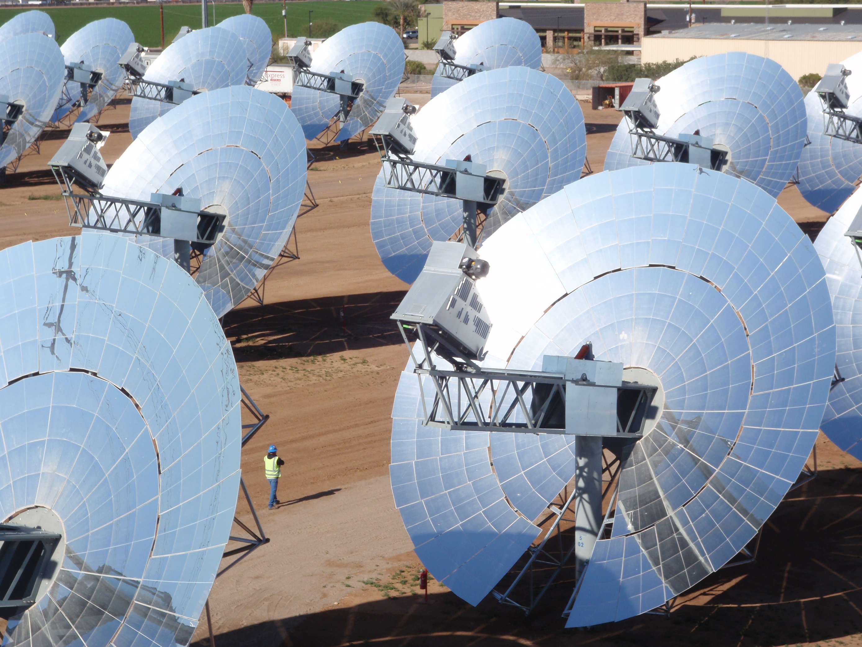 Stirling Energy Systems made solar dishes which generate heat to drive an engine which produces electricity.