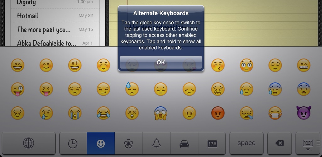 iPad message about switching between keyboard layouts