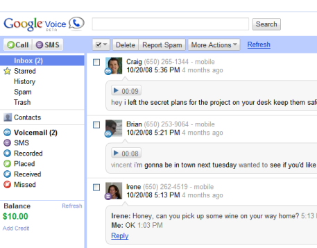 Google Voice's interface now fits in with other Google properties.