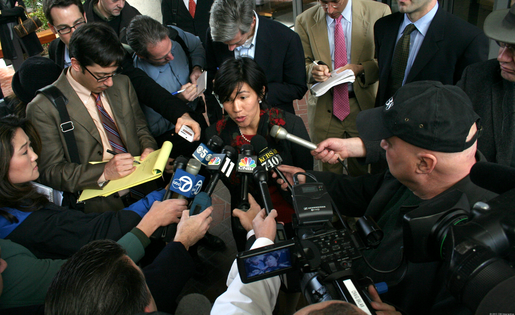 Nicole Wong, answering questions in front of the San Jose federal courthouse in 2006, when Google fought a legal battle against a broad Justice Department request for user search terms.