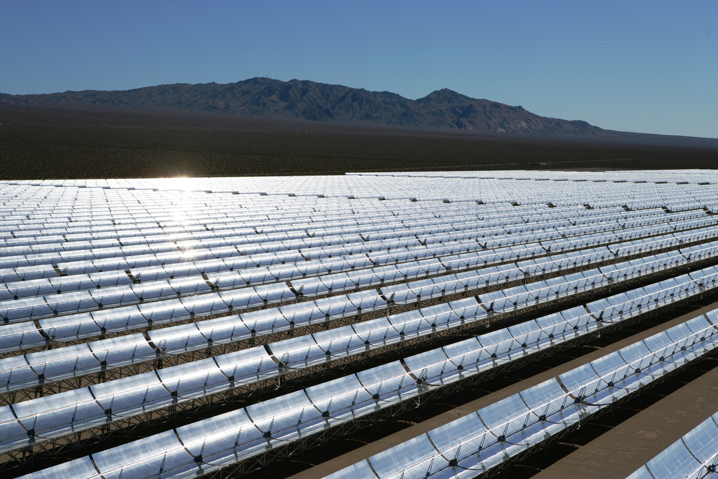 A solar thermal plant using parabolic troughs.