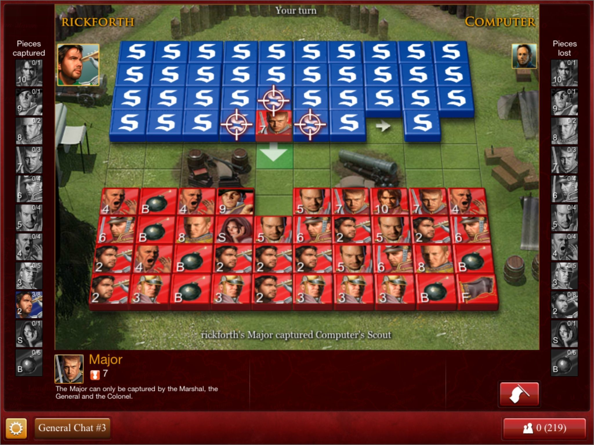 Stratego for iPad lets you play against the computer or any number of online opponents, including those on the Web and Facebook.