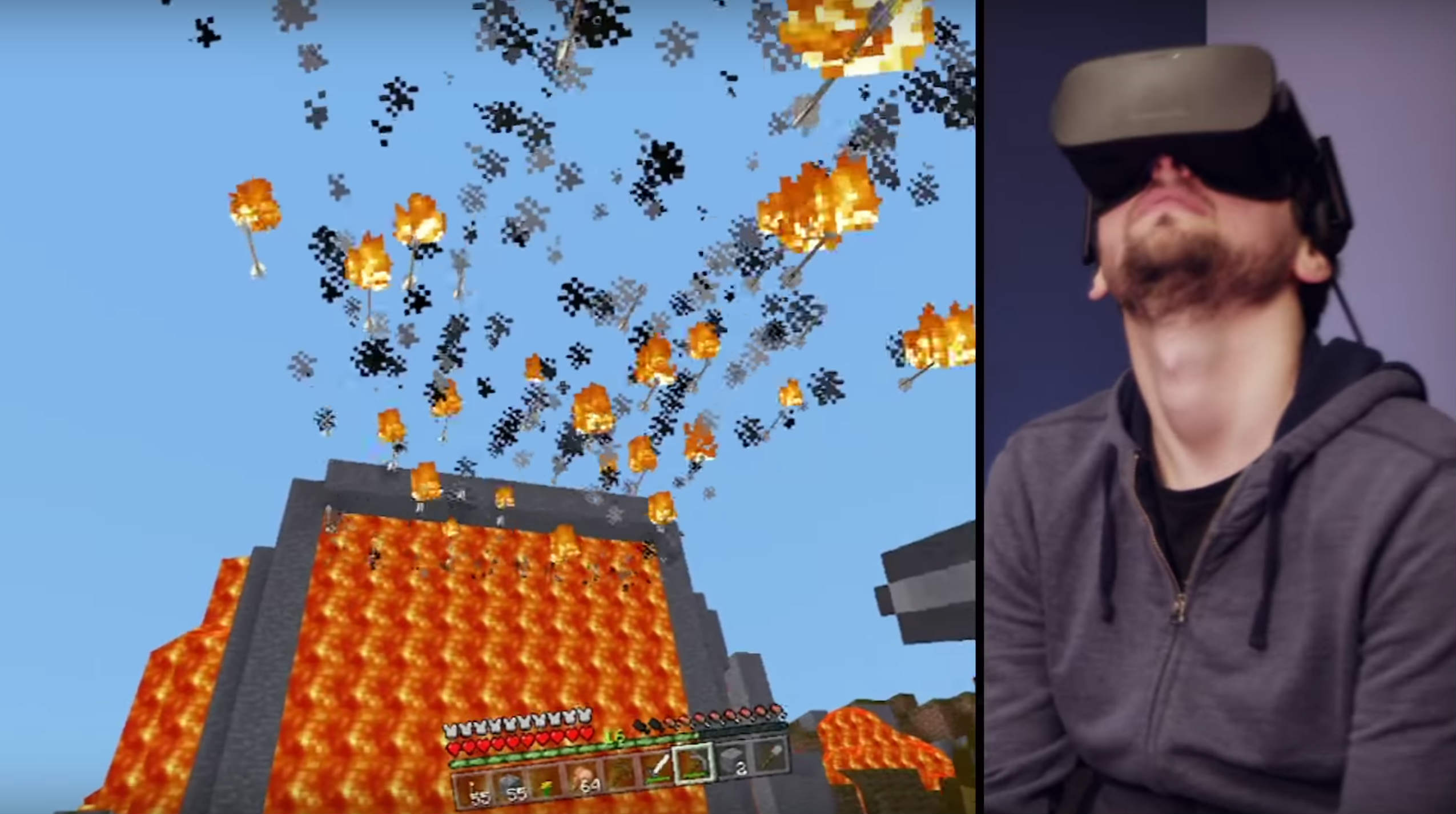 Minecraft team member Tommaso Checchi plays the virtual-world videogame while wearing Facebook's Oculus VR headset.