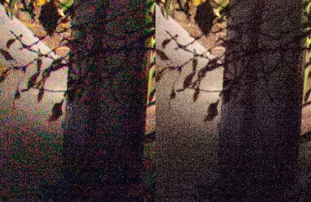 Adobe Systems is revamping noise reduction in its Lightroom software for editing raw images. At left is the standard noise reduction with Lightroom 2.5; at right is the beta of Lightroom 3, which thus far only addresses color, not brightness, in its algorithm.