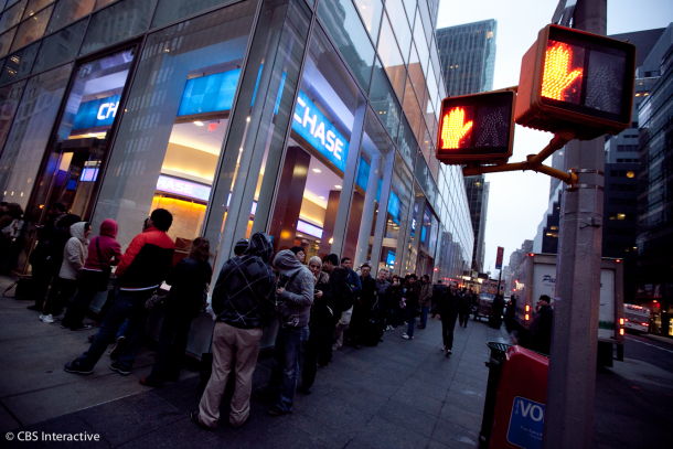 The line for Apple's new iPad outside its flagship store in New York on Friday morning.