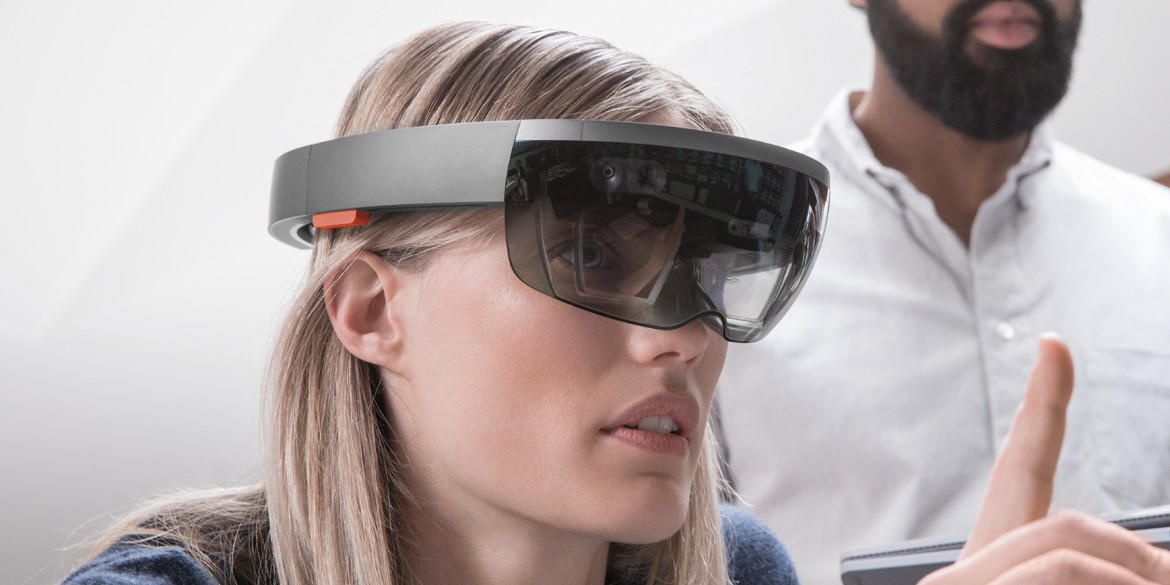 A HoloLens headset being used with an architecture application.