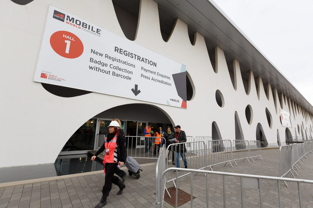 The Fira Gran Via was quiet Saturday, but the vast registration hall is bracing for the onslought of tens of thousands of attendees.