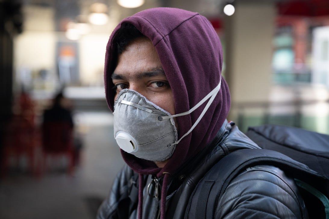 Man wearing an N95 mask
