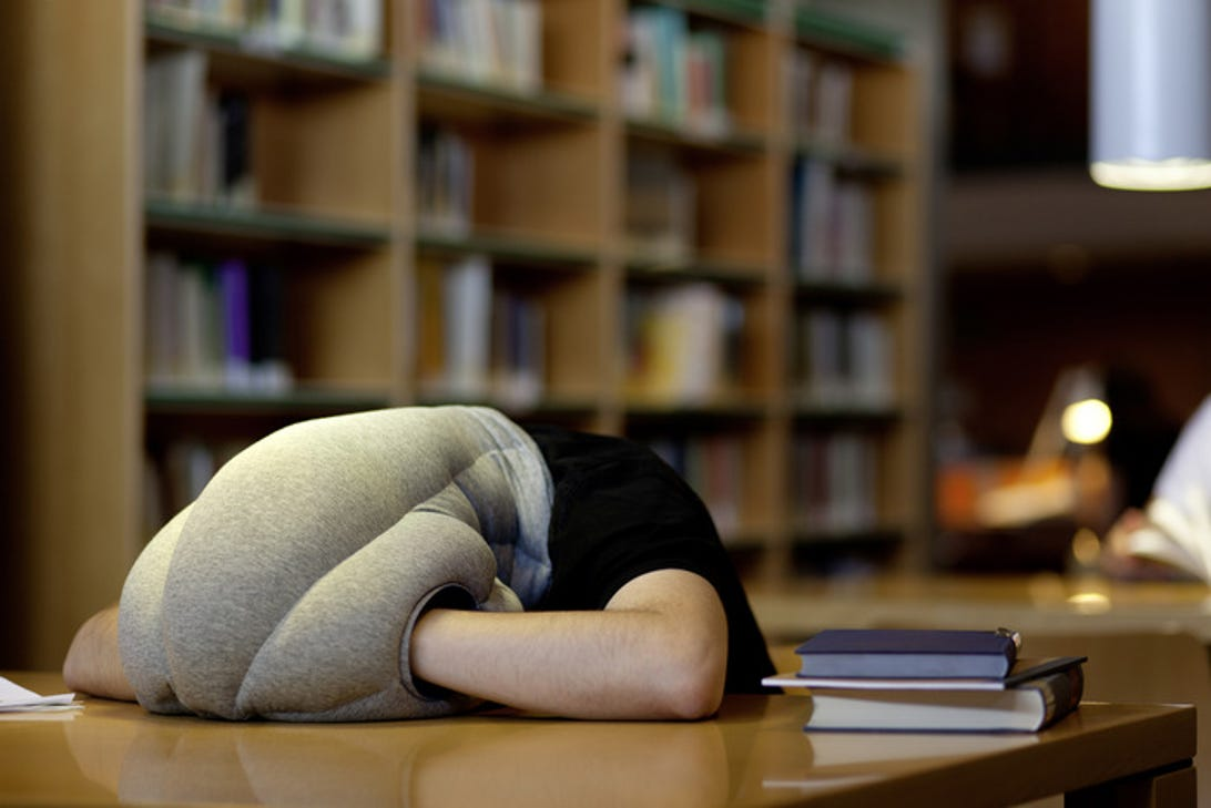Ostrich Pillow in use