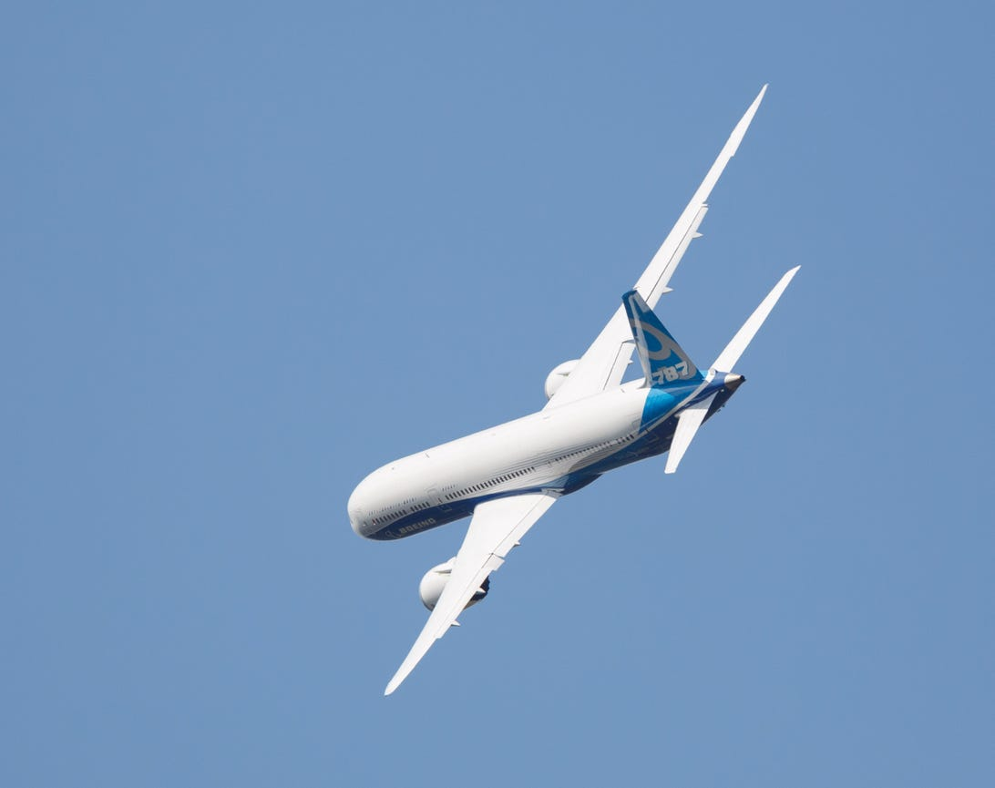 Boeing's 787-9, a longer version of the 787-8 Dreamliner that's already widely used, made its debut at the Farnborough International Airshow on July 14.