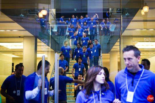 Apple employees preparing for the launch of the iPhone 4 last year at Apple's flagship store in San Francisco.