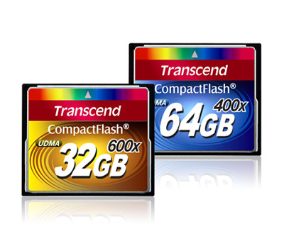 Transcend has begun selling 400X and 600X CompactFlash cards with capacities up to 64GB and 32GB, respectively.
