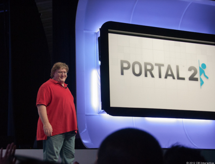 Valve CEO Gabe Newell at Sony's E3 press conference in 2010.