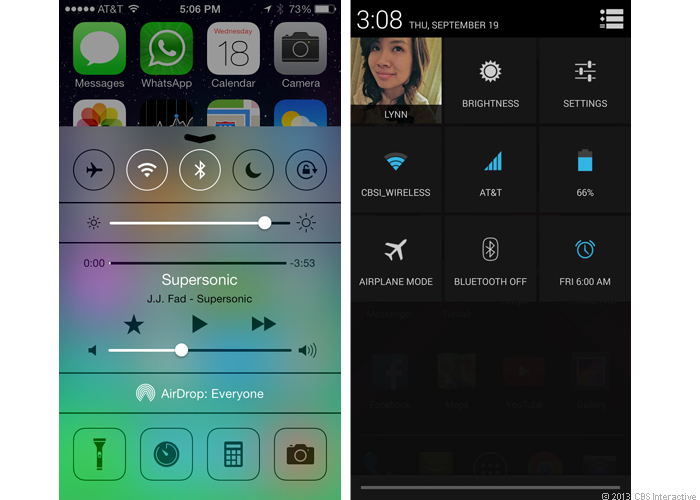 Control Center and Quick Settings (full)