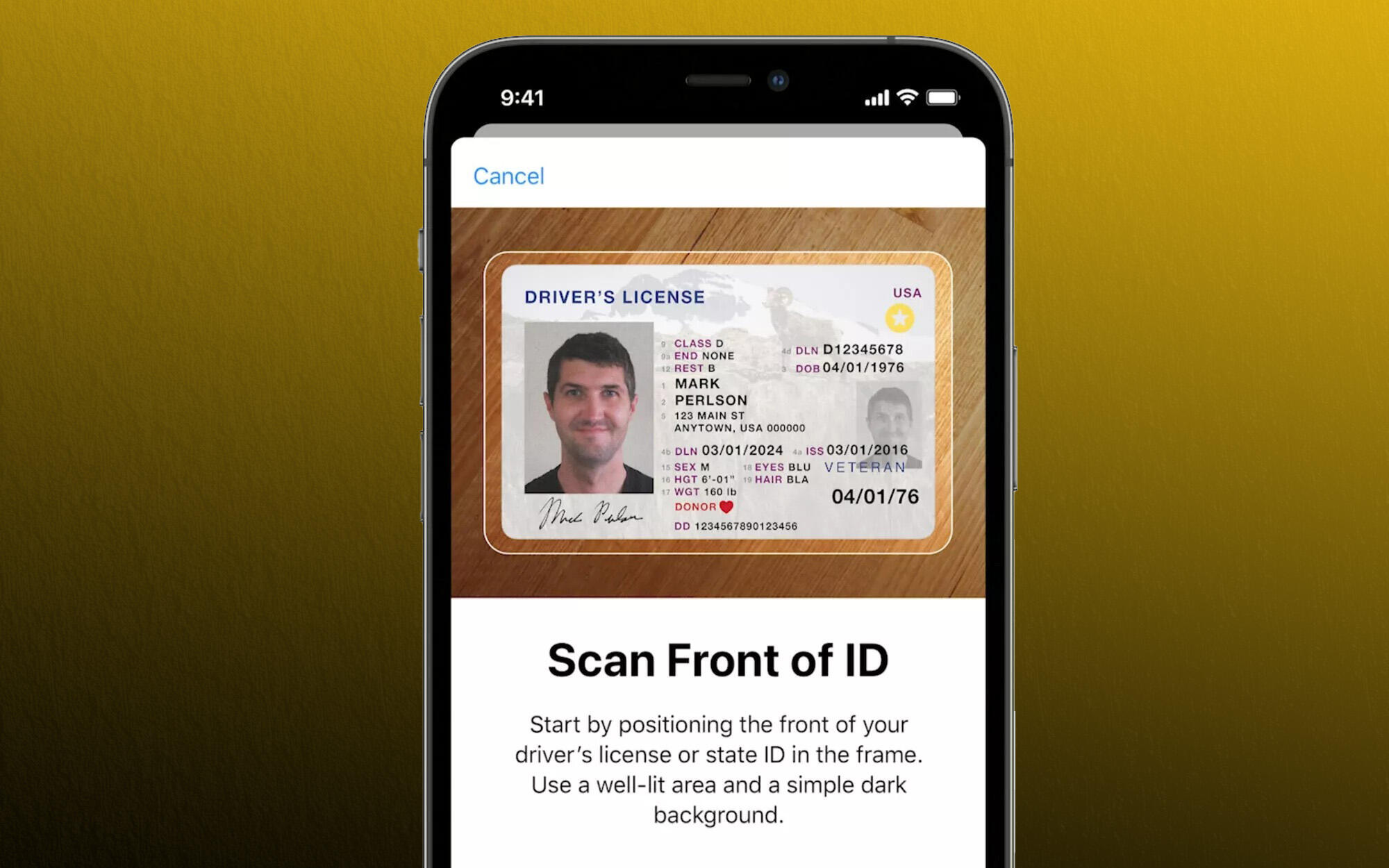 Apple's identification scan and stored in iPhone Wallet
